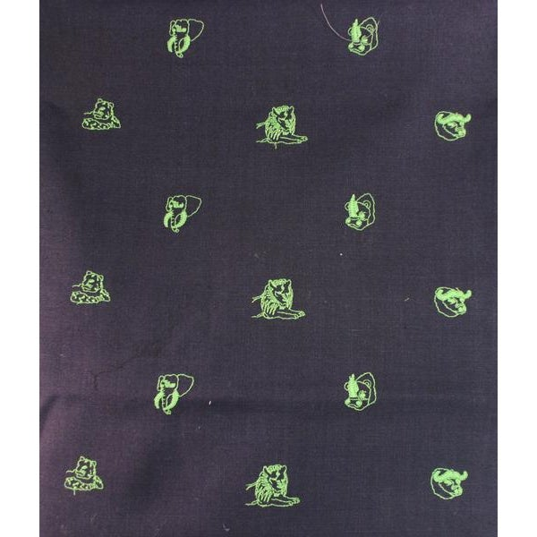 Chipp Irish Moygashel Linen Fabric with Lime 'Big Game' Animal Embroidery, Made in Britain. Perfect material for a vest or...