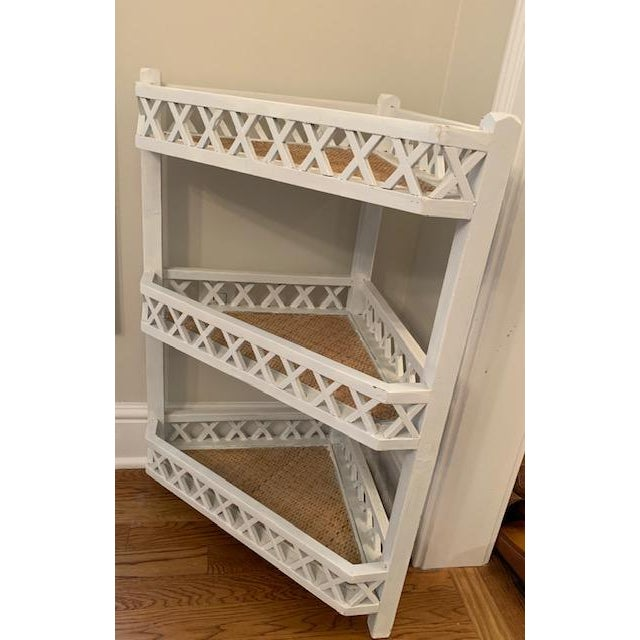 Corner wood shelf or plant stand. Lovely lattice sides. Lined in Raffia/rattan.