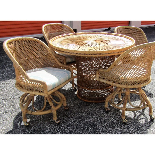 Boho Chic Boho Chic Rattan and Bamboo Dining Table and Four Chairs - 5 Pieces For Sale - Image 3 of 10