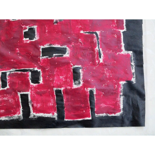 Alaina Bold Abstract Red Black Painting - Image 11 of 11