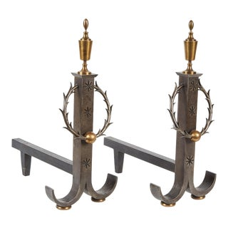 Pair of Samuel Yellin Iron Andirons For Sale