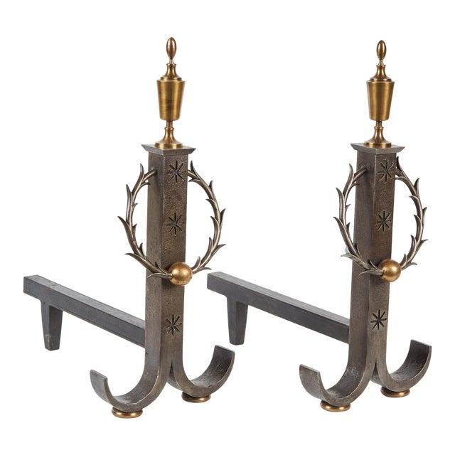 Pair of Samuel Yellin Iron Andirons For Sale