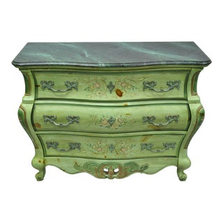 20th Century French Louis XV Pulaski Green Floral Painted Bombe Commode For Sale