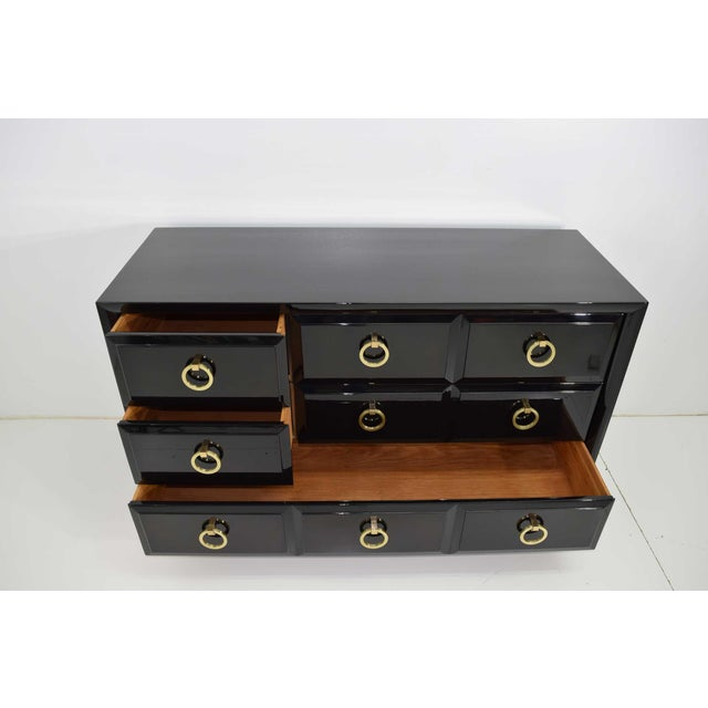 Robsjohn-Gibbings for Widdicomb Chest of Drawers in Black Lacquer For Sale - Image 12 of 13