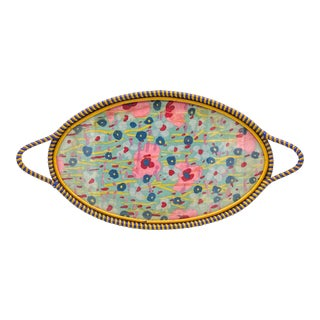 Early 20th Century French Floral Glass Tray With Blue and Yellow Rattan Edge For Sale