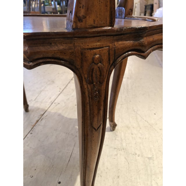 French Provincial French Provincial Style Marble Inset Two-Tier Fruitwood Oval Side Table For Sale - Image 3 of 13