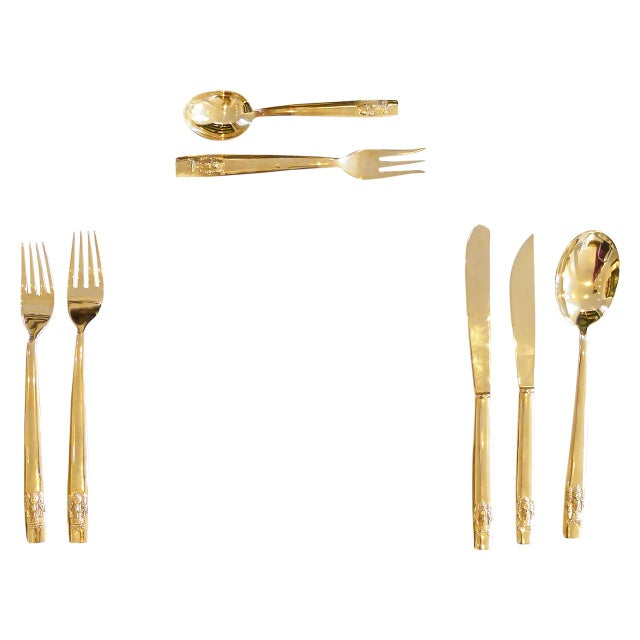 Set of solid bronze flatware with an elephant head design on each of the handles. It includes 5 complete place settings...