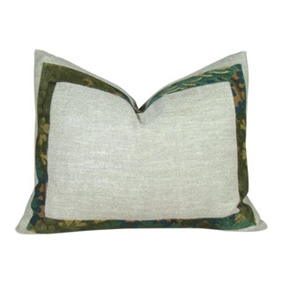 Sage Green Raw Silk & Verdure Print Pillow Cover For Sale