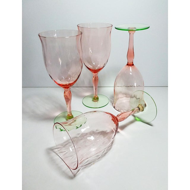 Boho Chic Pink & Green Weston Diamond Optic Goblets - Set of 4 For Sale - Image 3 of 5