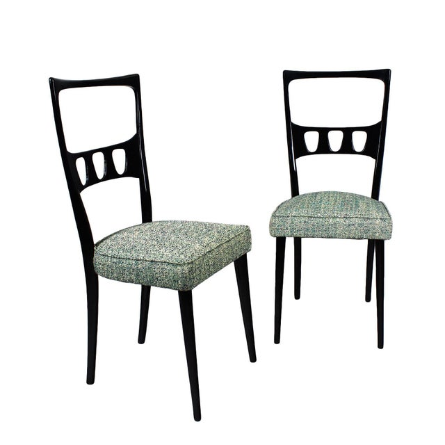 1950s Pair of Chairs, School of Turin, Beech, Fabric - Italy For Sale - Image 10 of 10