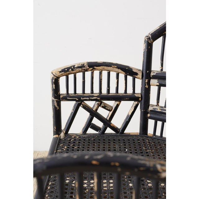 Black Brighton Bamboo Rattan Chinese Chippendale Lacquered Chairs For Sale - Image 8 of 13