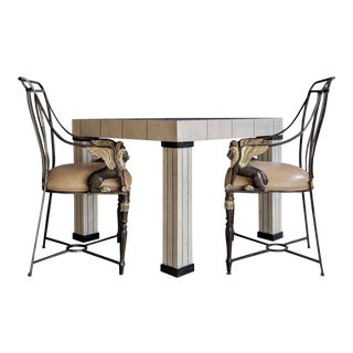 Maison Jansen Winged Lion Chairs Paired With Maitland Smith Tesselated Coral Game Table, Set of 3 For Sale
