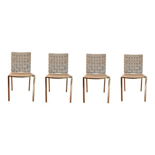 Modern Woven Gray Leather and Brass Dining Chairs Set of Four For Sale