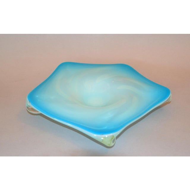 Turquoise Murano Glass Hand Blown Blue, White and Clear Catchall Bowl, Italy For Sale - Image 8 of 9
