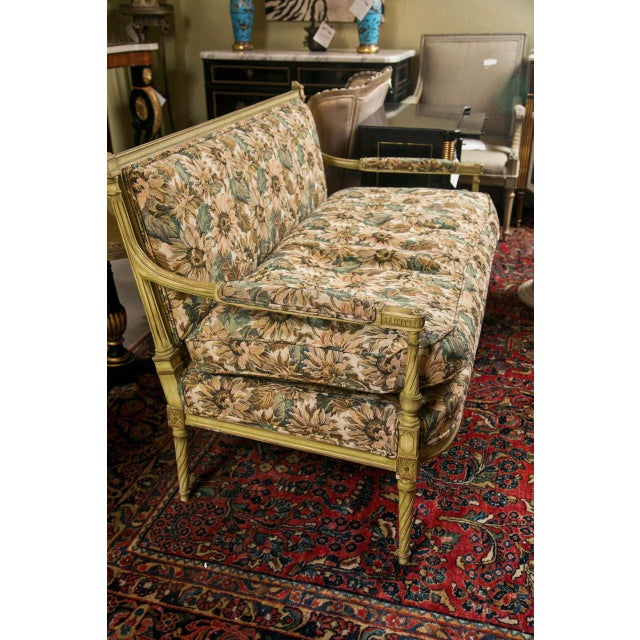 French Louis XVI Style Painted Settee by Jansen For Sale - Image 4 of 7