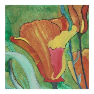 California Poppy, Gouache on Paper, 2016 For Sale