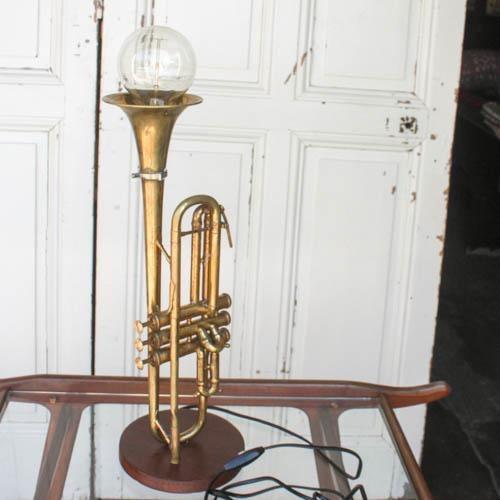 Vintage Brass Trumpet Lamp - Image 7 of 7