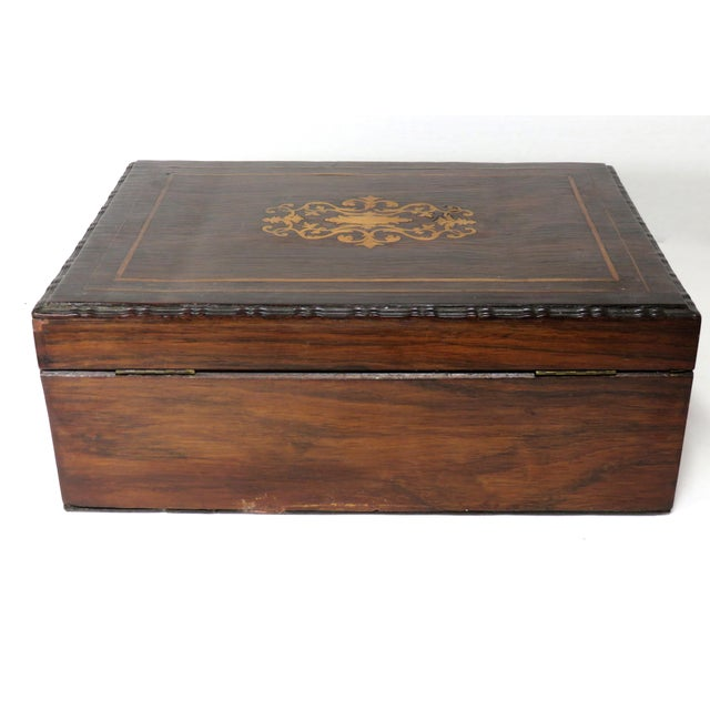 Brown Late 19th Century Antique Rosewood Sewing Box For Sale - Image 8 of 10