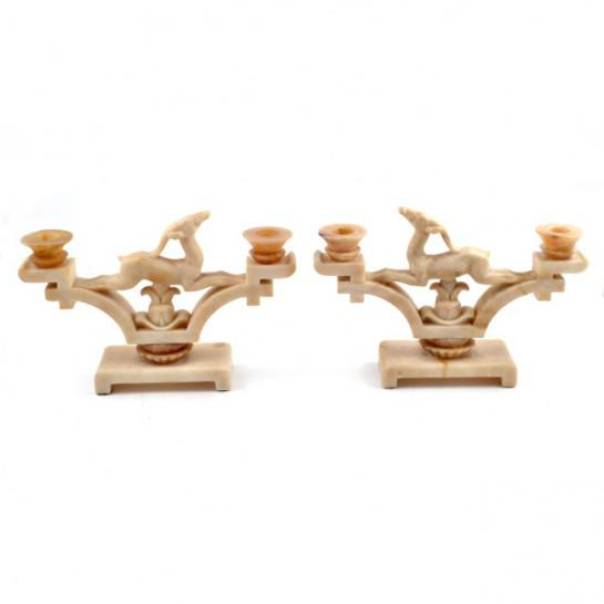 1920s Italian Art Deco Period Onyx Jumping Gazelle Candleholders - a Pair For Sale - Image 12 of 12