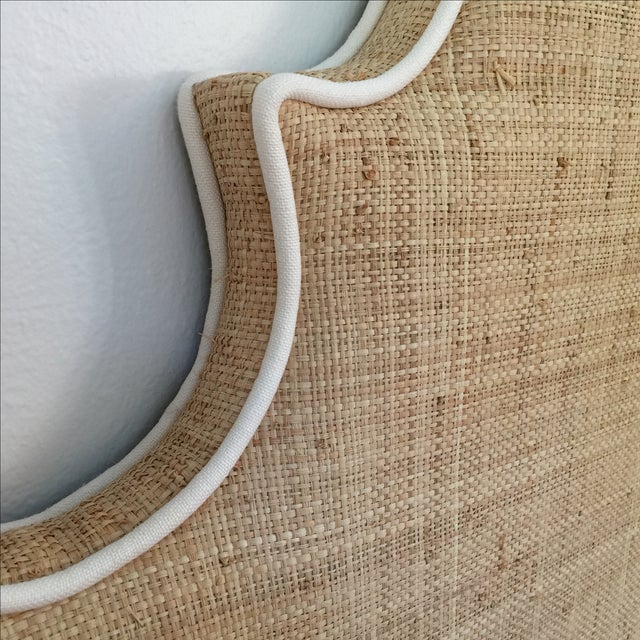 Raffia Cal-King Headboard with White Piping For Sale - Image 5 of 6