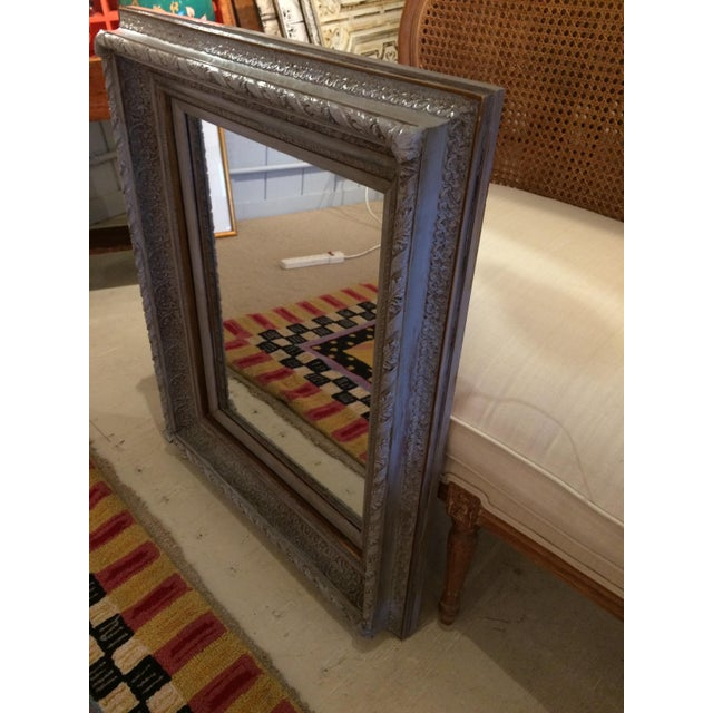 Gustavian Grey Carved Wood Mirror For Sale - Image 5 of 6
