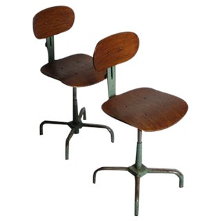 Industrial Steel Adjustable Bar Stools - A Pair