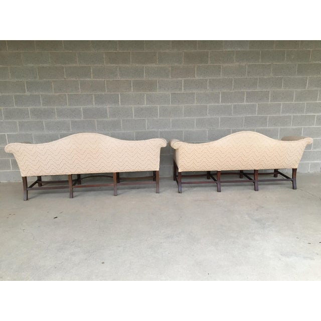 19th Century Antique Chippendale Style 8 Leg Camel Back Serpentine Front Settees - A Pair For Sale - Image 12 of 13