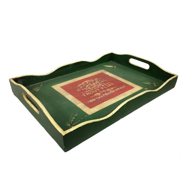 English Traditional Vintage English Green Rectangular Wooden Tray For Sale - Image 3 of 5