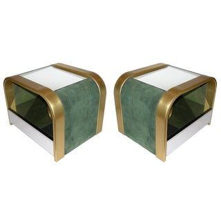 Romeo Rega 1970s Brass and Chrome Open Side Tables With Green Velvet Sides - a Pair For Sale