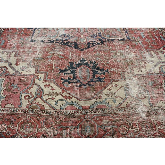 North West Persian Distressed Antique Serapi Rug - 10′4″ × 11′10″ - Image 3 of 3