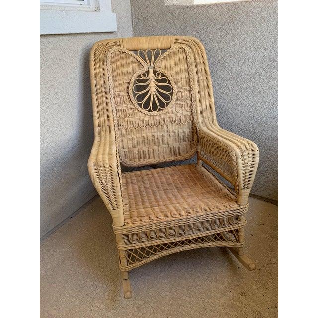 Brown Ralph Lauren Wicker Rattan Rocking Chairs - Pair For Sale - Image 8 of 10