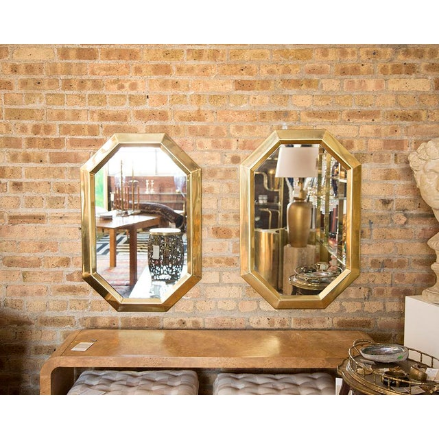 Brass Octagonal Mirrors - A Pair - Image 5 of 11