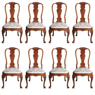 Set of Eight Queen Anne Style Dining Chairs For Sale