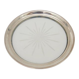 1930s Art Deco American Classic Sterling Silver and Crystal Wine Bottle Coaster For Sale