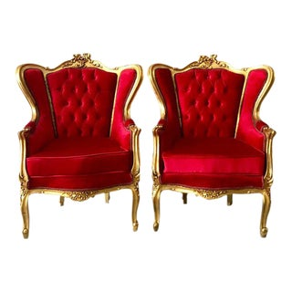 1940s Vintage French Louis XVI Style Red Tufted Velvet Chairs - a Pair For Sale