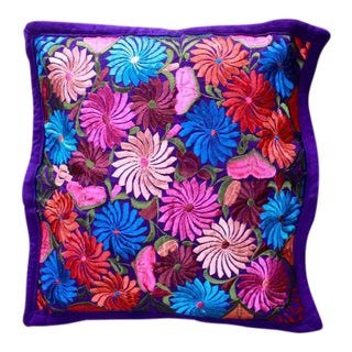 Boho Chic Hand-Woven Teotitlan Pink and Purple Floral Cotton Pillow For Sale