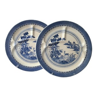 1910s Chinoiserie Ceramic Transferware Grill Plates - a Pair For Sale