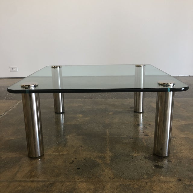1970s Mid-Century Modern Marco Zanuso Glass and Steel Coffee Table For Sale In Richmond - Image 6 of 6