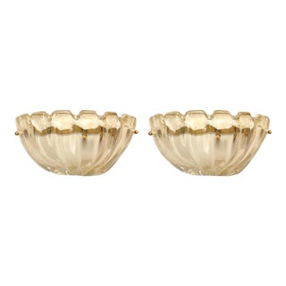 "Italian 1940s Venetian Murano ""Rugiada"" Glass Sconces - a Pair For Sale"