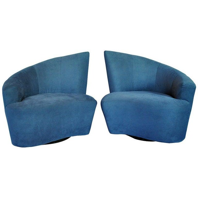 Blue 1990s Vintage Vladimir Kagan for Weiman Preview Bilbao Swivel Lounge Chairs- a Pair For Sale - Image 8 of 8