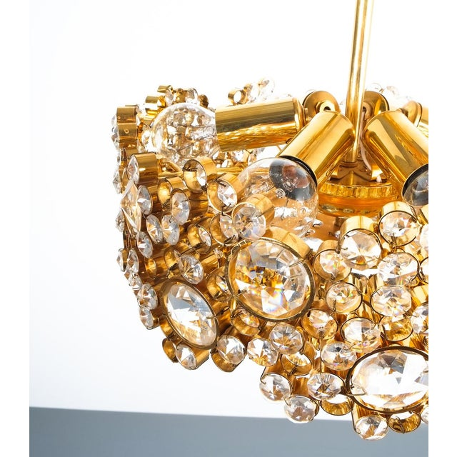 Gold Palwa Crystal Glass Gold-Plated Brass Chandelier Refurbished Lamp For Sale - Image 8 of 12