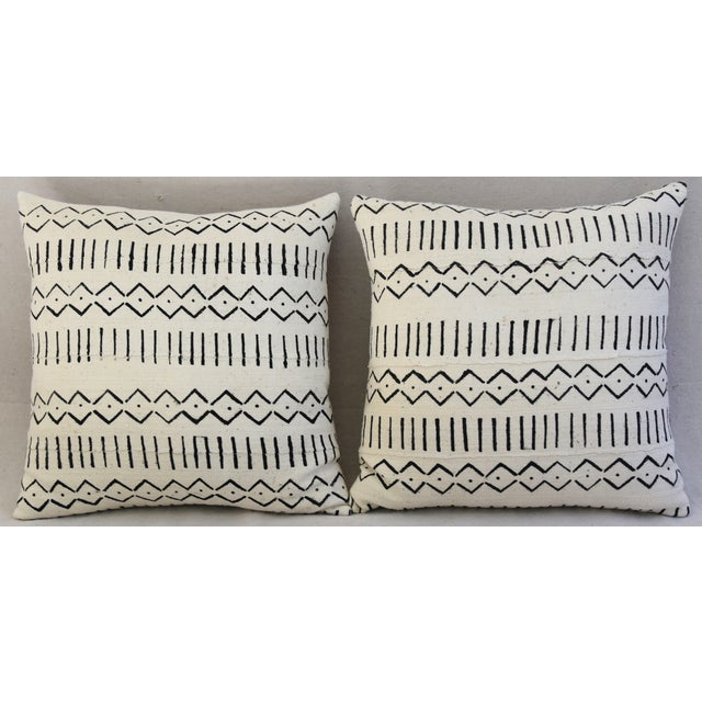 African Boho-Chic Mali Mud Cloth Tribal Design Pattern Pillows - A Pair For Sale - Image 3 of 10