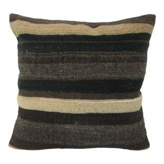 Turkish Striped Vintage Kilim Pillow Cover For Sale