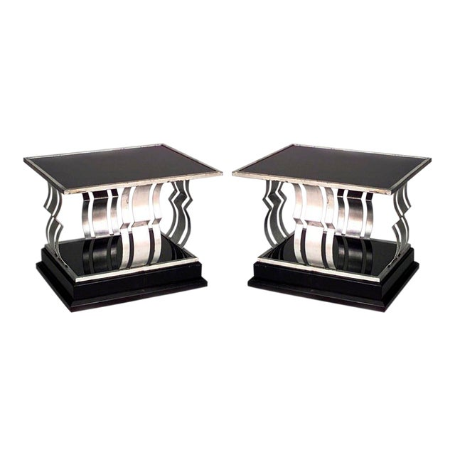 French Art Deco Rectangular Silver And Black Painted Iron End Tables- A Pair For Sale