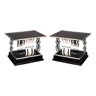Pair Of French Art Deco Rectangular Silver And Black Painted Iron End Tables