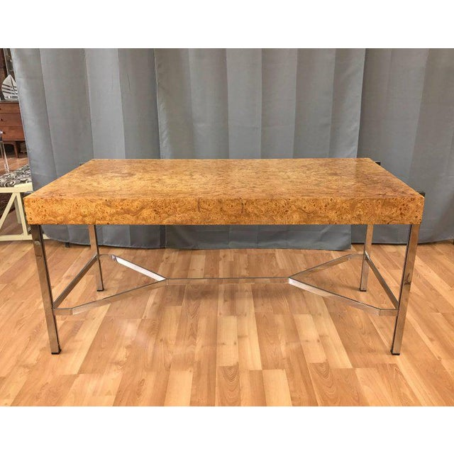 Notable Jack Freidin for Pace Burl Wood and Chrome Desk - Image 5 of 11