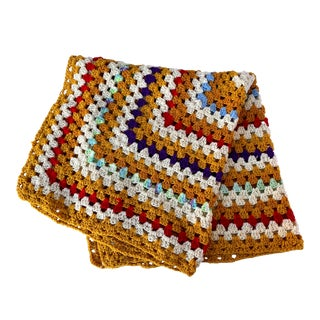"Vintage Hand-Knitted Afghan Throw Blanket 41"" W X 41"" H For Sale"