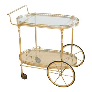Italian Hollywood Regency Brass Bar Cart For Sale