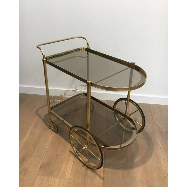 1960s French Brass and Smoked Glass Bar Cart - Image 2 of 11