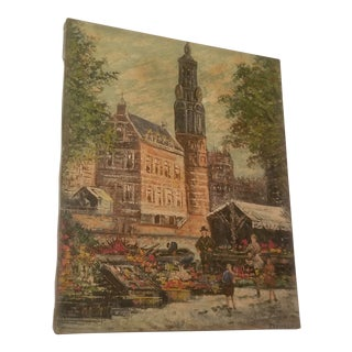 Vintage Mid-Century City / Canal Scene Bromson Oil on Canvas Painting For Sale